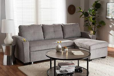 Baxton Grey Upholstered Sectional Sofa