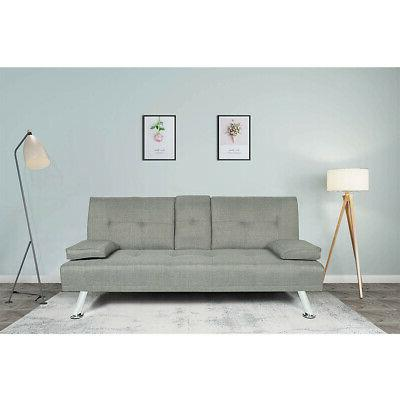 light gray reversible sectional futon small apartment