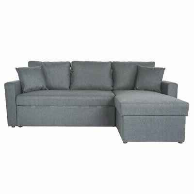 Light Grey Small L-Shape Sectional Sleeper Sofa Pull-Out Ott