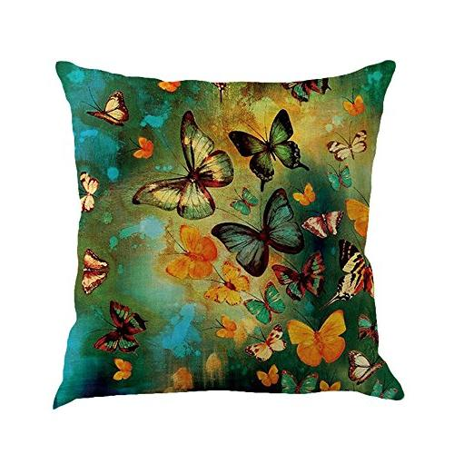 linen cushion butterfly printing throw