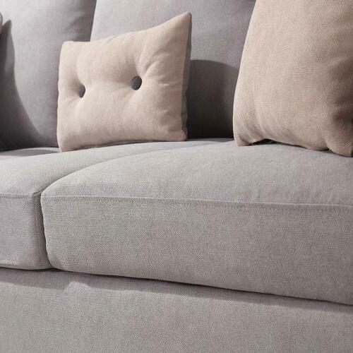 Linen Convertible Sofa Couch L-Shaped for