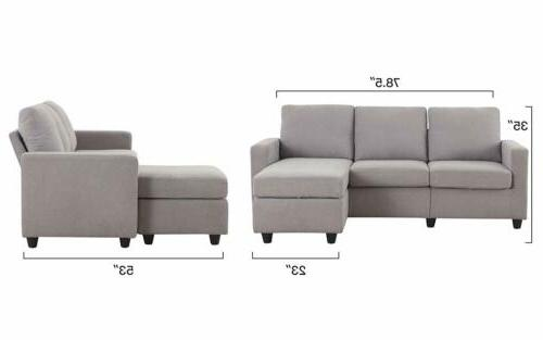 Linen Fabric L-Shaped Couch for