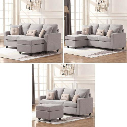 Linen Sofa L-Shaped Couch for Small