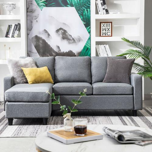 Linen Fabric Sectional Sofa L-Shaped Couch W/Reversible Chaise Grey