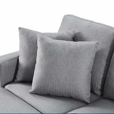 Linen/ Faux Sofa, shaped Couch 3-Seat W/ Chaise