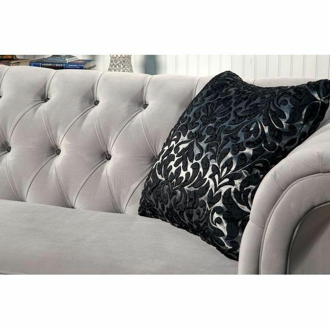 Traditional Gray Sofa Chaise Pillows
