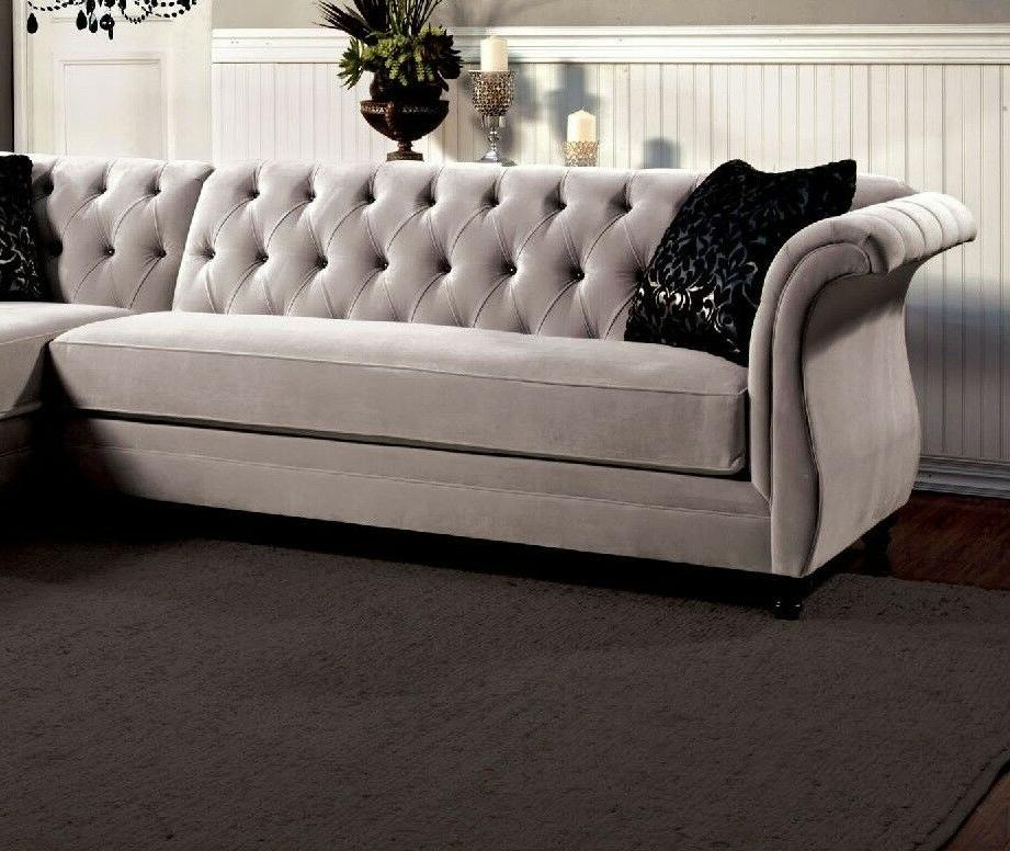 Traditional Gray Fabric Sectional Sofa Chaise Pillows Cushion
