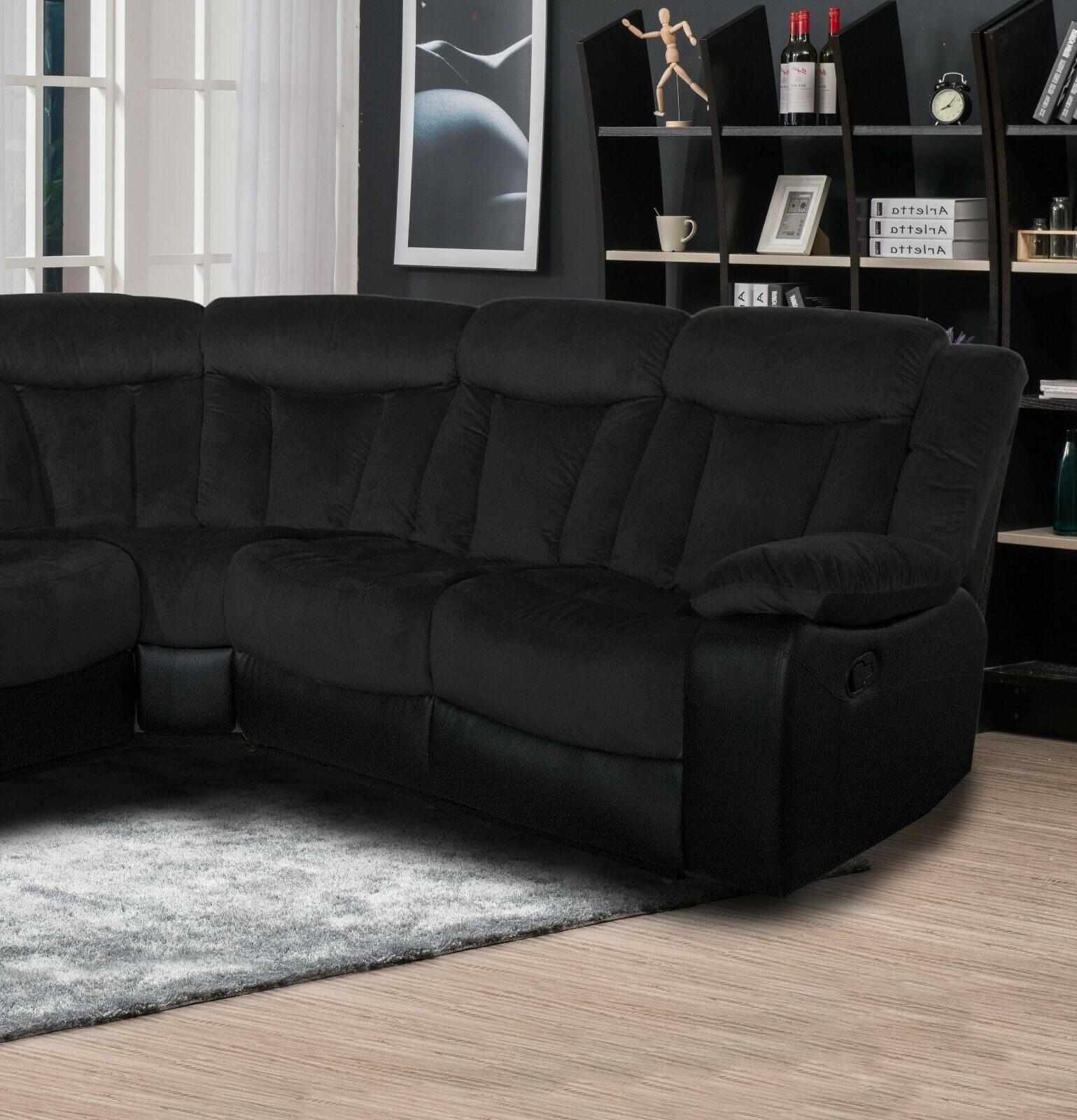 Living Reclining Sofa Wedge Black Upholstered
