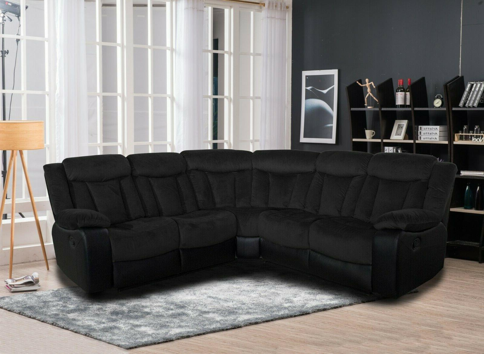 living room two tone reclining sectional sofa