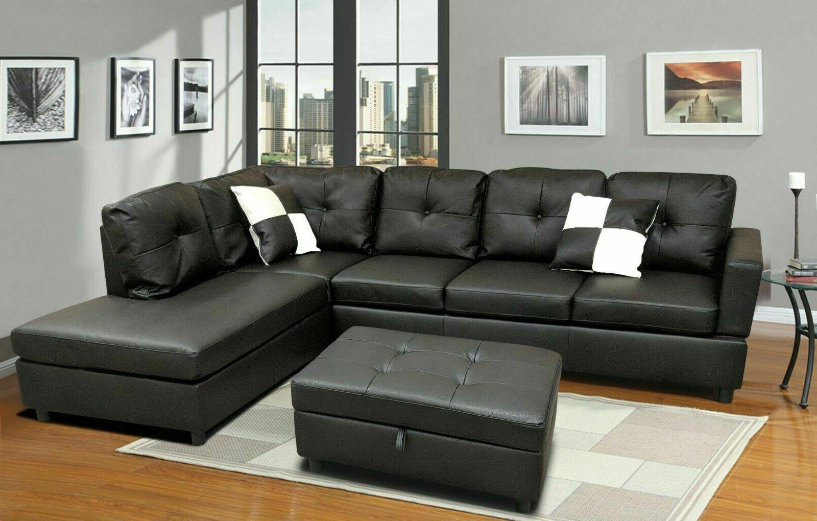 luxury faux leather living room sectional sofa