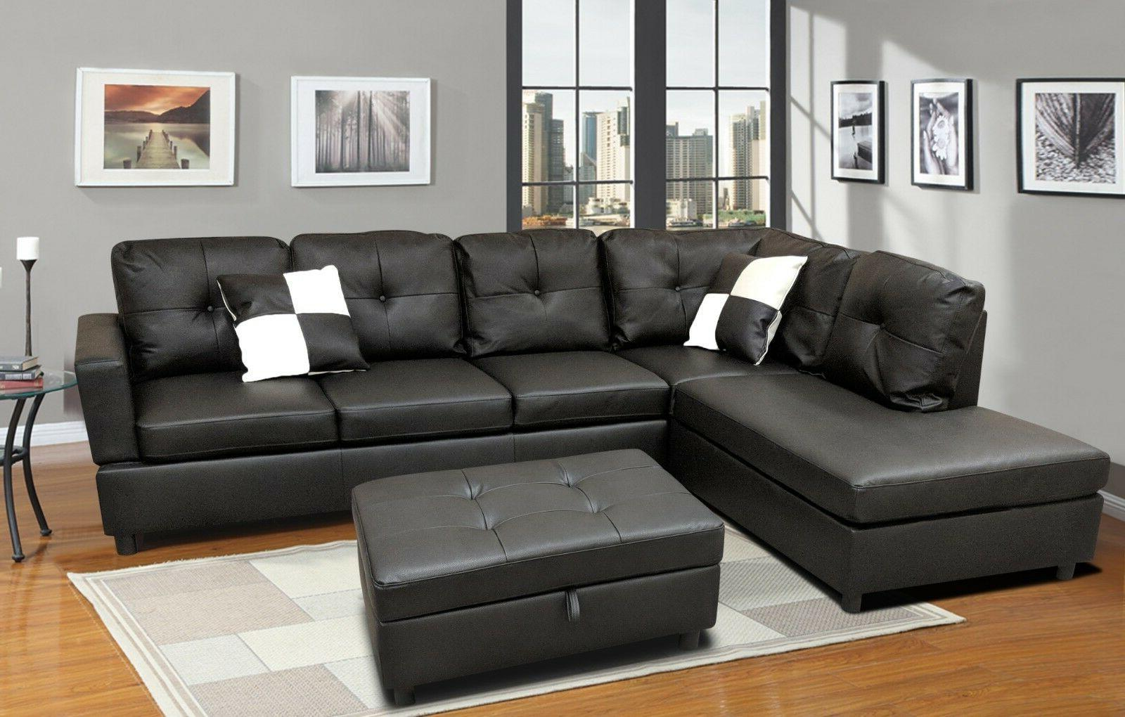 Luxury Faux Leather Living Room Sectional Sofa Set Black/Espresso | Left  Chaise