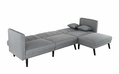 Mid Sofa Bed Couch, Reversible, Light Grey
