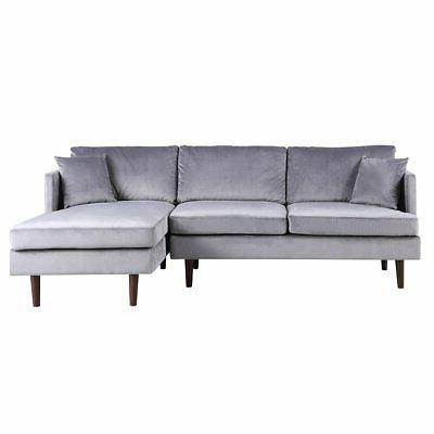 Mid-Century Modern Brush Microfiber Sectional Sofa, L-Shape