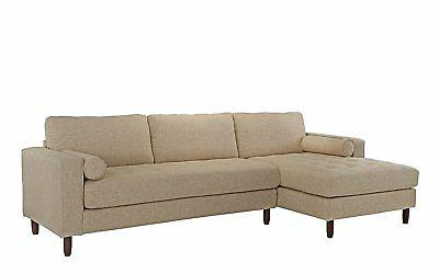 Mid-Century Sectional Couch Beige