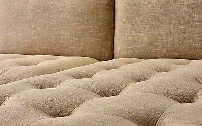 Mid-Century Tufted Sectional L-Shape Beige
