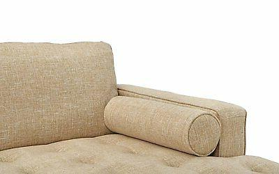 Mid-Century Modern Tufted Fabric Sectional Beige