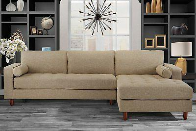 mid century modern tufted fabric sectional sofa