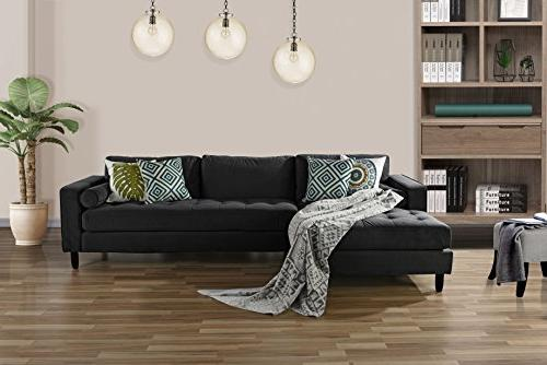Divano Mid-Century Modern Velvet Sofa, L-Shape Couch with Extra Chaise Lounge