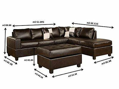 Modern 3 PC Bonded Leather Sectional