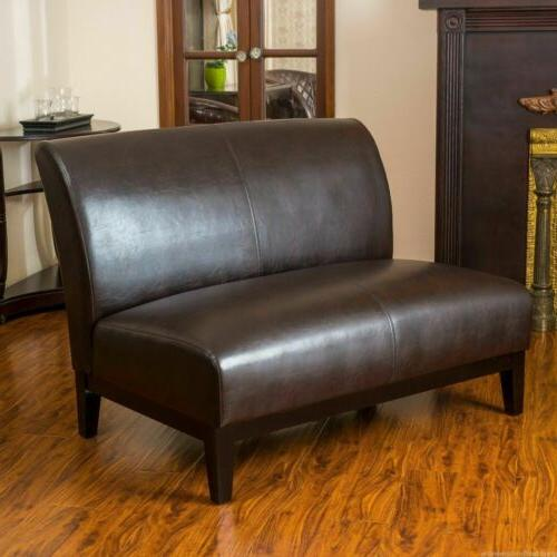 Massimo Modern Upholstered Brown Bonded Leather Loveseat