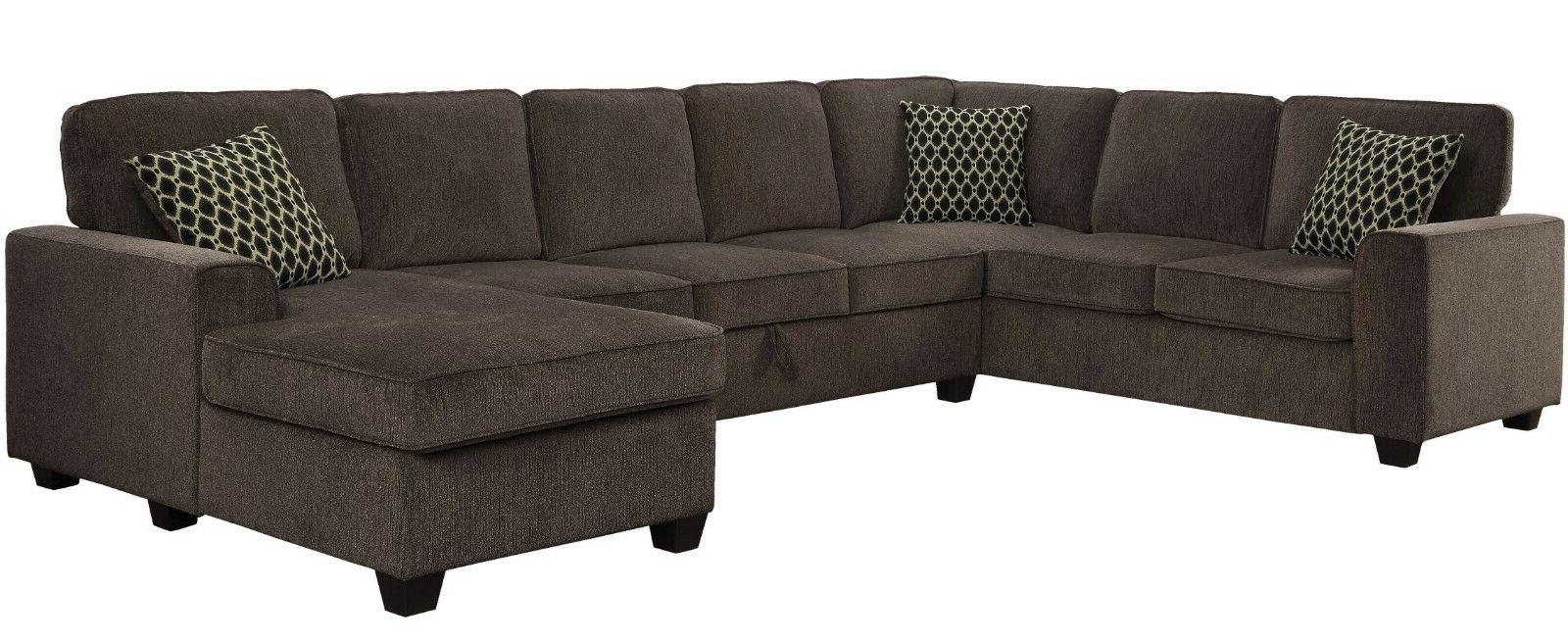 Transitional 3-Piece Fabric Sectional Sofa Storage