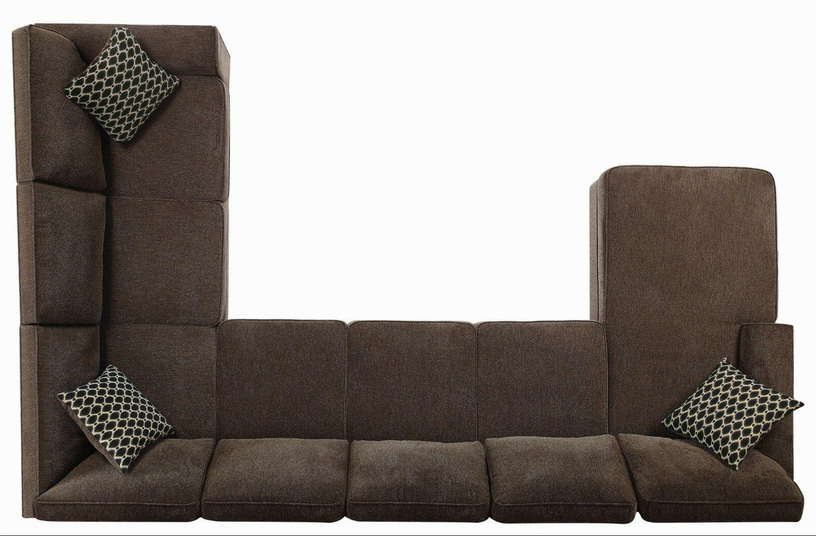 Transitional 7-Seater Fabric Sectional Sofa with Storage Brown