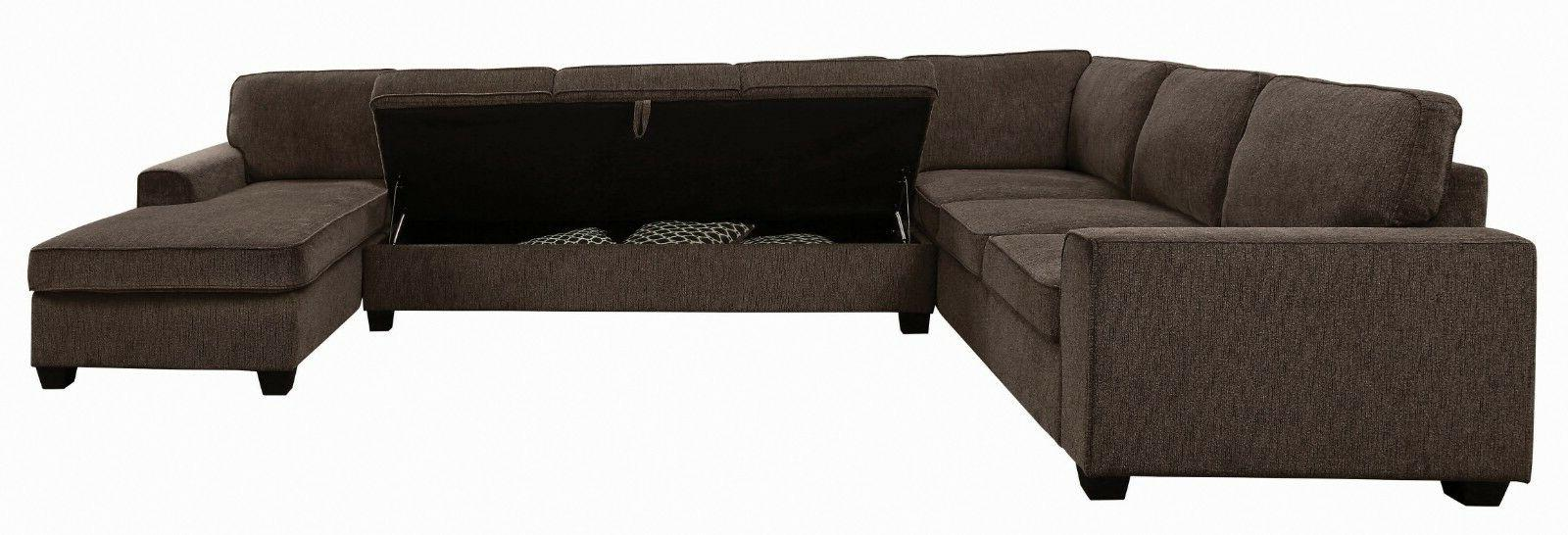 Transitional 3-Piece Fabric with Storage Brown