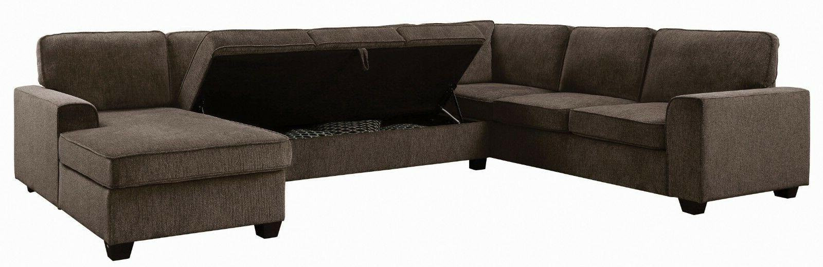 Transitional Fabric Sectional Sofa with Storage Brown