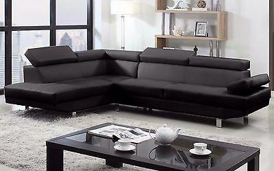 2 Piece Modern Black Faux Sofa