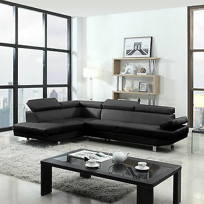 2 Piece Modern Black Sofa