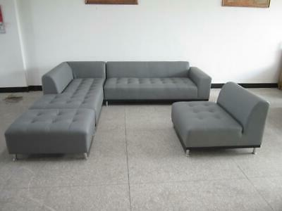 Modern contemporary design gray Leather Sectional chaise #1707