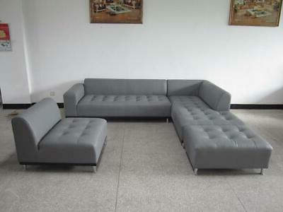 modern contemporary design gray leather sectional sofa