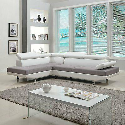 Modern Tone Leather Sectional