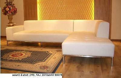 2 PC Modern contemporary design white Leather Sectional sofa