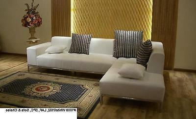 Modern contemporary white Sectional chaise + sofa +ottoman 3pc