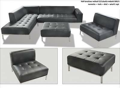 Modern contemporary design black Leather Sectional chaise +