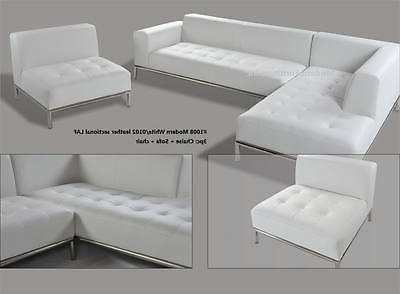 modern contemporary white leather sectional chaise sofa