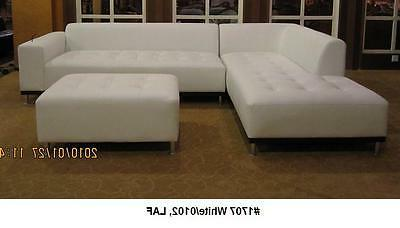 Modern contemporary white leather sectional sofa + chaise 2
