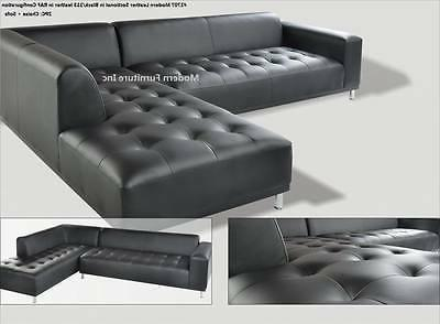 Modern design Leather Sectional sofa + pieces set #1707
