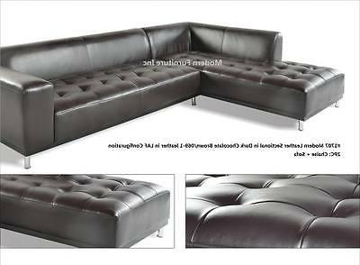 Modern contemporary white Leather Sectional 3 pieces