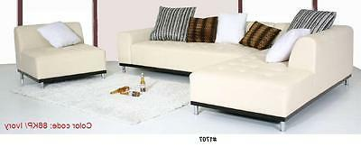 Modern design Red Leather Sectional + chaise + ottoman set #1707