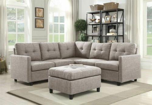 modern fabric sectional sofa set couch assembly