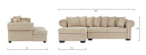 Modern Large Sofa, L-Shape Couch Extra Wide
