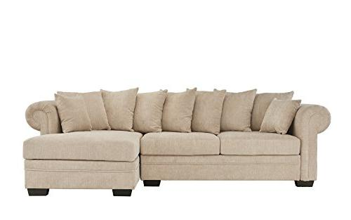 Modern Large Fabric Sectional Sofa, L-Shape Couch Extra Chaise