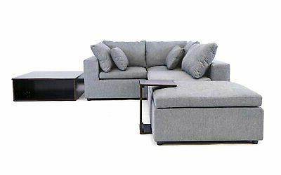 Modern Sectional Sofa Wood Side Reversible