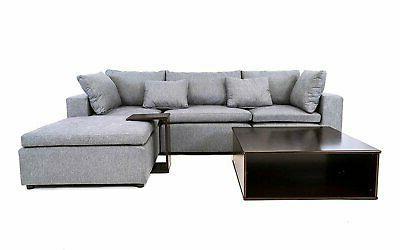 modern fabric sectional sofa wood side table