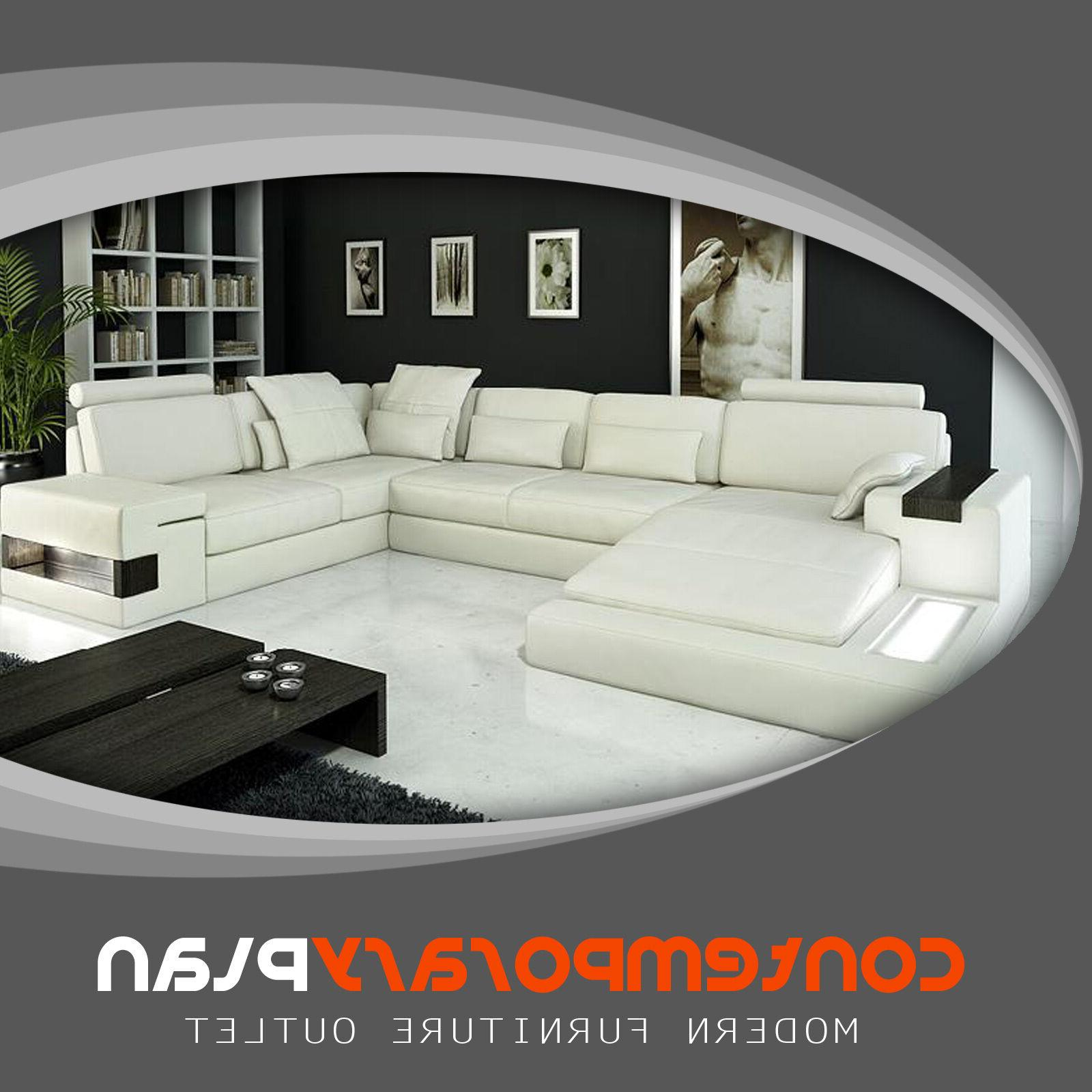 modern ivory top grain italian leather sectional