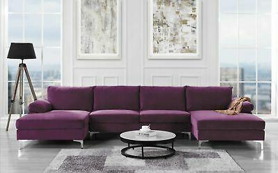 Modern Large Purple Velvet Fabric U-Shape Sectional Sofa, Do