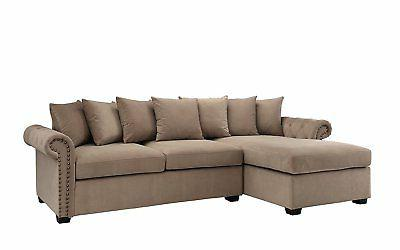 Modern Large Sectional Sofa, Scroll L-Shape