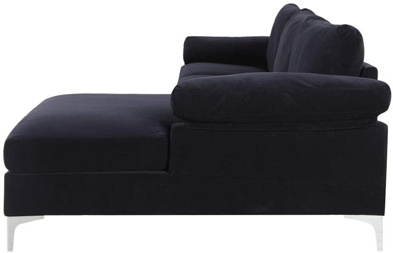Modern Large Fabric Sectional with Wide Chaise - Black